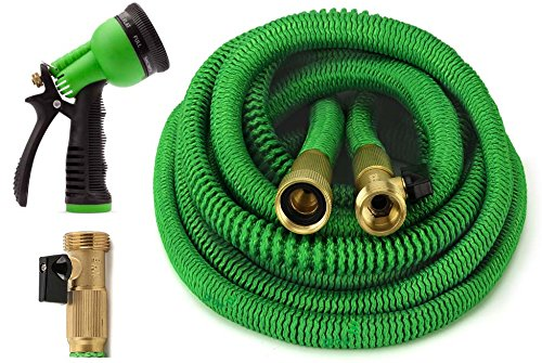 GrowGreen Garden Hose 75 Feet Expandable Hose with All Brass Connectors, 8 Pattern Spray Nozzle and High Pressure, Expanding Garden Hose