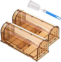 Godmorn Humane Mouse Trap, Reusable Rodent Trap 2 Pack with Cleaning Brush, No Kill Mice Live Catcher, Pets & Children...