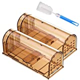 Godmorn Humane Mouse Trap 2 Pack with Cleaning Brush, 20cm Large Mice Trap