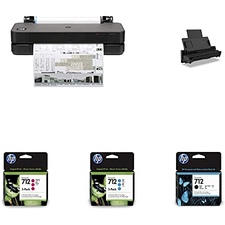 """HP DesignJet T210 Large Format Compact Wireless Plotter Printer - 24"""" (8AG32A), with Multipack and High-Capacity Genuine Ink Cartridges (10 Inks) & Auto Sheet Feeder with Tray - Bundle"""