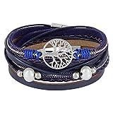 StarAppeal Wickelarmband mit Perlen, Ketten, Flechtelement und Lebensbaum Anhänger, Magnetverschluss Silber, Damen Armband (Blau)