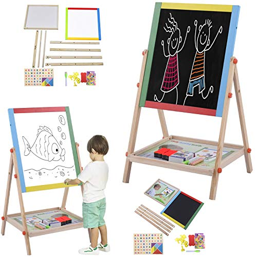 FunkyBuys® Large Kids 2 in 1 Wooden Easel (SIL-138) Double Sided Easel Chalk Drawing Board Children Learning Board (69cm) ***(FREE 54pc Magnetic Alpha/Numbers)***