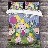Ben & Holly'S Little Kingdom - Juego de colcha de 3 piezas, juego de cama de 200 x 30 pulgadas, funda de almohada de 20 x 30 pulgadas