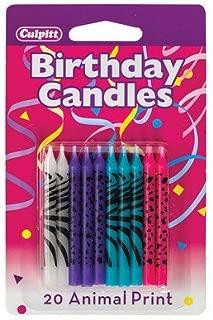 Bright Animal Print Birthday Cake Candles - 20 pc
