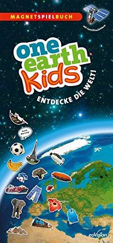 one earth kids XXL Kinderatlas - Kinderweltatlas als Magnetspielbuch mit 180 Magneten, großformatige Satelitten-Weltkarte und Begleitbuch