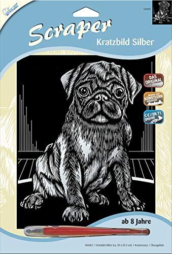 MAMMUT 136055 - Kratzbild, Motiv Mops (Hund), silber, glänzend, Komplettset mit Kratzmesser und Übungsblatt, Scraper, Scratch, Kritzel, Kratzset für Kinder ab 8 Jahre