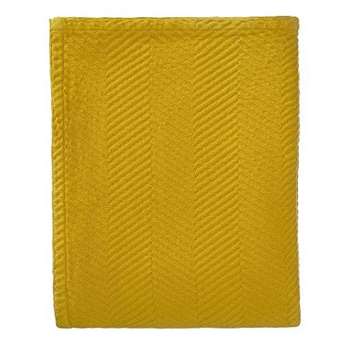 """URBANARA Tagesdecke """"Lixa"""" – 100prozent Reine Baumwolle, Senfgelb, texturiertes Fischgrat – 180 x 230 cm, Überwurf, Decke, Bettüberwurf, Sofaüberwurf, Baumwolldecke"""