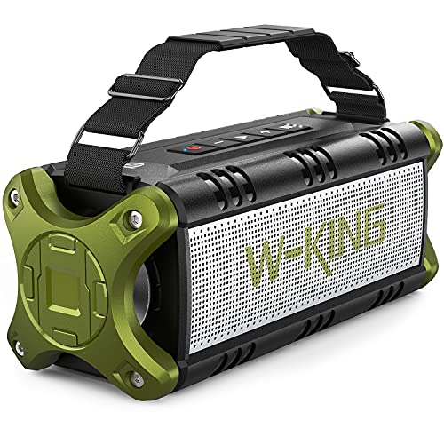 [Upgraded] 50W(70W Peak) Wireless Bluetooth Speakers Built-in 8000mAh Battery Power Bank, W-KING Outdoor Portable Waterproof TWS, DSP, NFC Speaker, Powerful Rich Bass Loud Stereo Sound