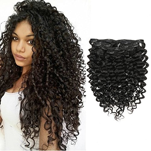 Clip in Human Hair Extensions Afro Jerry Curly 3B 3C Real Hair Clip in Extensions For Black Women Natural Black Color 100% Brazilian African American Hair Extensions (16 inch, Jerry Curly #1B)