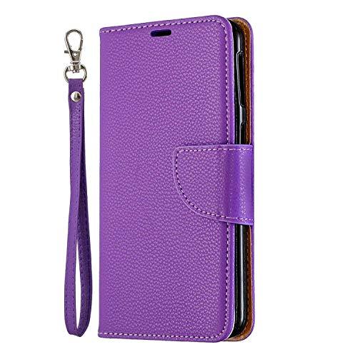 Galaxy A40 Hülle, SONWO Premium PU Leder Flip Brieftasche Handyhülle mit Karteneinschub und Magnetverschluss für Galaxy A40, Lila