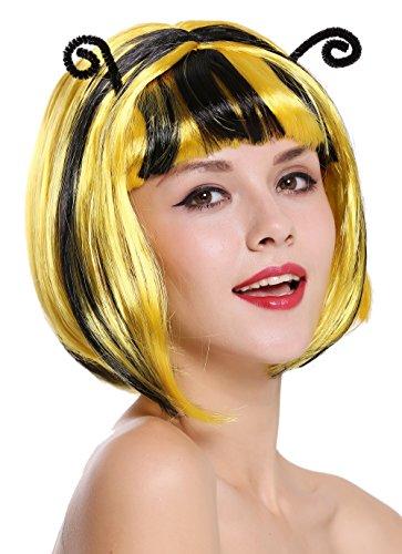 WIG ME UP ® - 91575 Peluca Mujer Carnaval Halloween Muy Lindo abejorro Abeja Avispa Amarillo Rayas Negras Antenas