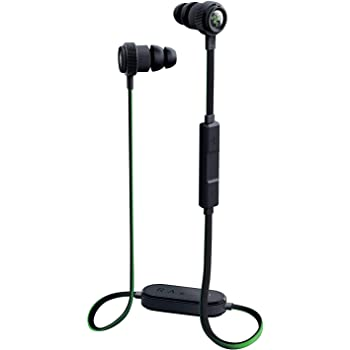 Razer Hammerhead Bluetooth Earbuds for iOS & Android: Sweat-Resistant Design - 8 Hr Battery - Custom-Tuned Dual-Driver Technology - In-Line Mic & Volume Control - Aluminum Frame - Matte Black/Green