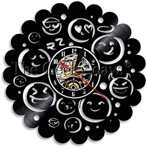 ZZNN Vinyl record wall clock Wall Clock Personalized 12 Funny Emoji Vinyl Record Wall Clock Emoticon Wall Clock Modern Design Mood Emotion Shadow Wall Watch Art cjdm5566 Vinyl wall clock