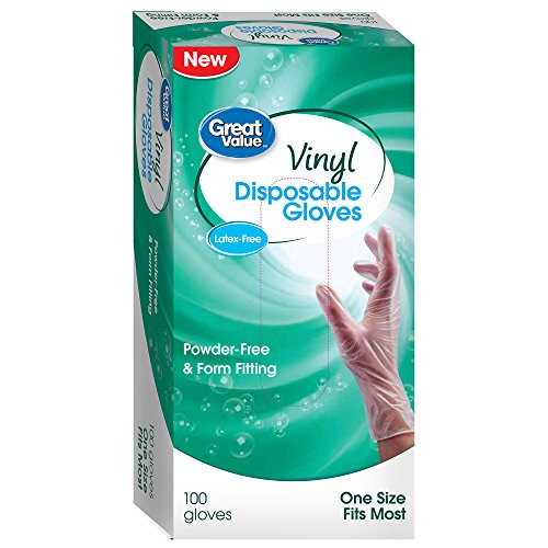 Great Value Vinyl Disposable Gloves Latex Free Powder Free 100 count