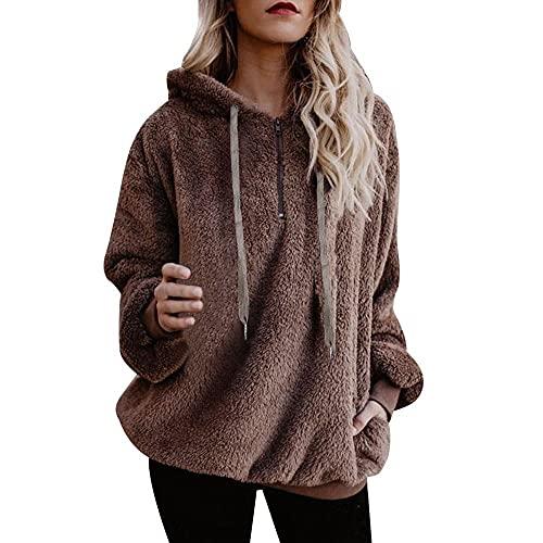 Chejarity Damski ciepły sweter z kapturem z długim rękawem, na co dzień, flausz, sweter z kieszeniami, pluszowy miś polarowy, vintage, sweter z kapturem na jesień, sweter z dzianiny, kawa, L