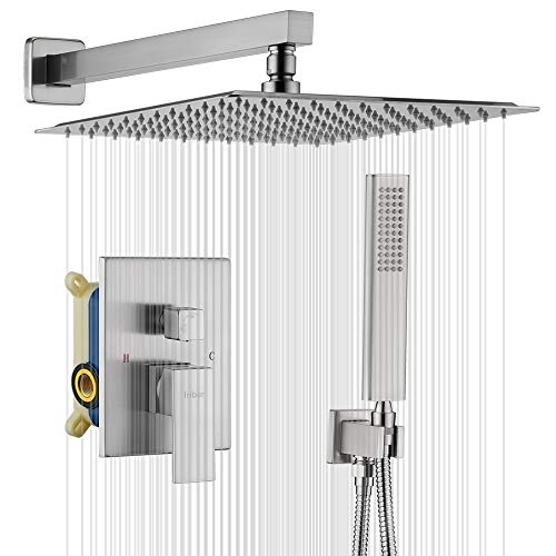 IRIBER Brushed Nickle Shower System 12 Inch High Pressure Rainfall Shower Head Brass Shower Set...