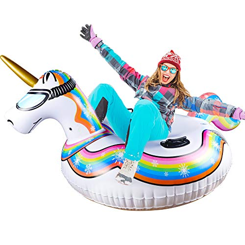 Glintoper Winter Snow Tube for Sledding, 47 Inch Inflatable Unicorn Snow Sled for Kids and Adults, Heavy Duty Snow Tubes with Strong Handles, Wear-Resistant Material & Thickening Freeze-Proof