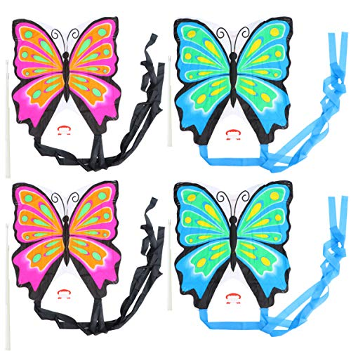 VOSAREA 4Pcs Cartoon Schmetterlingsdrachen mit Line Winder Single Line Kite Flugspielzeug für Kinder Kinder (Rosa Blau)
