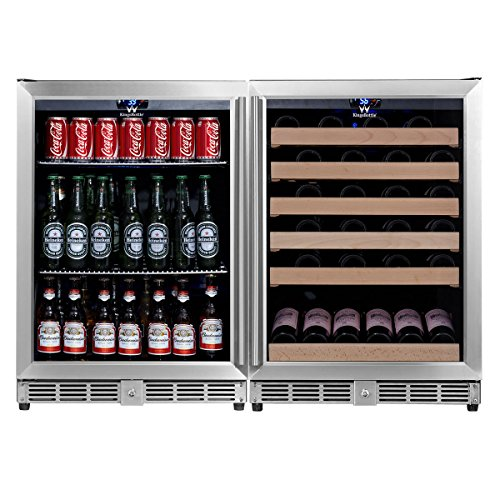 KingsBottle KBU-50Combo-BW2 Innovative Combo 2-Zone Dual Temperature Wine and Beer Cooler with Glass Door, Holds 160 Cans 46 Bottles, Vibration Free, Exceptional Temperature Control