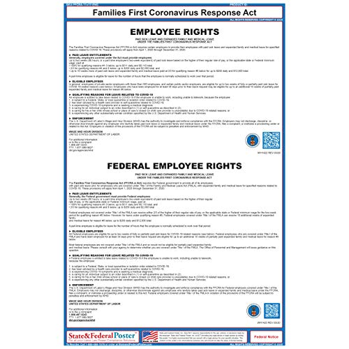 Families First Coronavirus Response Act Poster (FFCRA) - Employee Rights Paid Sick Leave and Expanded Family and Medical Leave