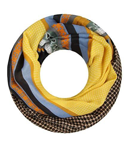 Majea Damen Loop Schal viele Farben tolle Muster Schlauchschal Halstücher (senfgelb 25)