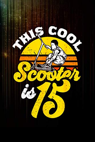 15th birthday retro scooter driver scooter boys kids Notebook 114 Pages Size 6''x9'' / College Ruled