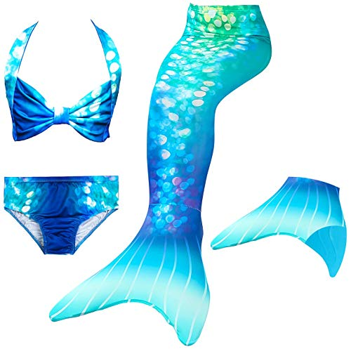 Le SSara 2018 Mädchen Meerjungfrau Tails Bikini Badeanzug setzt 4 Stücke Bademode mit Flosse für Schwimmen Cosplay Partei (140, DH84+Blue)