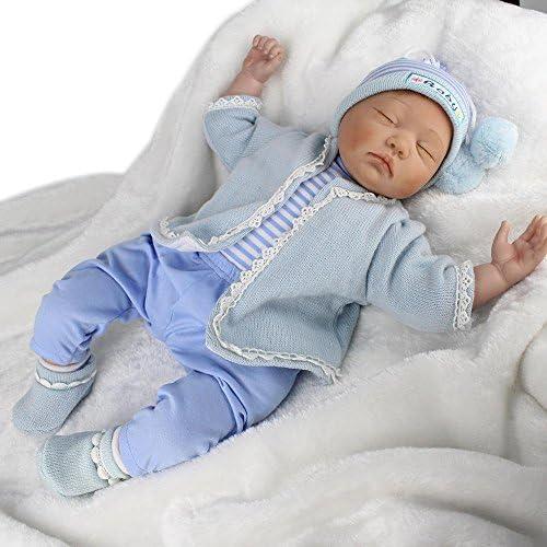 LINAG Babypuppen Reborn Baby Vinyl Silikon Weiß Lebensechte Wirkendes Neugeborene Realistische Wiedergeboren Spielkameraden Simulation mädchen Junge Spielhausspielzeug 5cm Doll-73266