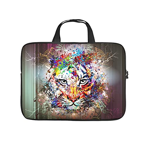 trippy lion tiger animal Laptop bag Pattern Laptop Case Bag vintage Dust-Proof Computer Protective Bag with Portable Handle for Women Men white 15 zoll