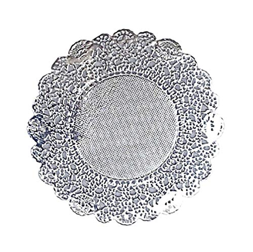 """Doilykorea - 250pcs. Premium 3.5inch Hoil Round Lace paper doilies- Non-Dust, Clean Cut, Simple design : Party/Gift/Pad for Cake Crafts/Home Decoration Weddings Table settings Placemats [3.5"""", Silver]"""