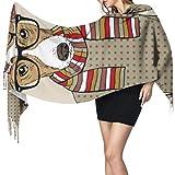 27'x77 Wrap Women Shawl Cute Dressed Dogs Scarf for Teens Ladies Shawl Wrap Elegante manta cálida grande