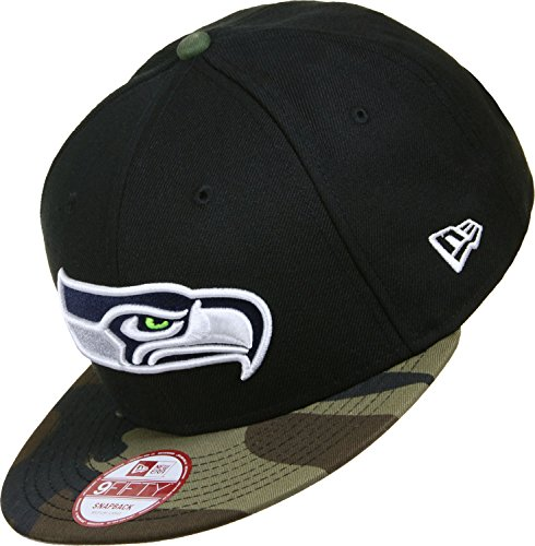 New Era EMEA 9Fifty Snapback Seattle Seahawks Schwarz Camouflage, Size:S/M