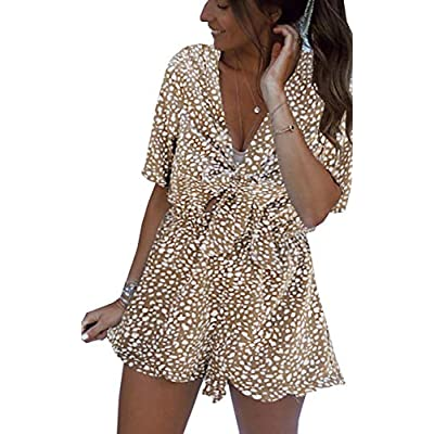 Amazon - 60% Off on  Womens Dresses Jumpsuit Polka Dot V Neck Short Sleeve Self Tie Front Layer Ruffle