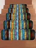 Ommda Stufenmatten Hochflor Innen Rechteckig Set Selbstklebend 15 Stück Buntes Brettmuster Treppenstufen Matten Anti Rutsch Waschbar Treppenschutz Style-0458,22x70cm
