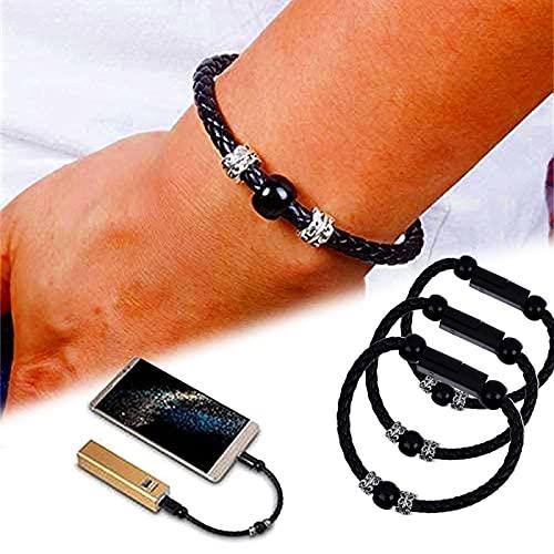 ZURITI Cable de Pulseras de Carga de Cuentas de oración, Cable de Pulseras de Carga USB, Cable de Datos Trenzado del Alambre de Carga del Mini teléfono Micro USB, Cable del Cargador de Datos 3PCS