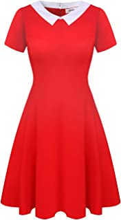 Women's Short Sleeve Casual Peter Pan Collar Flare Dress