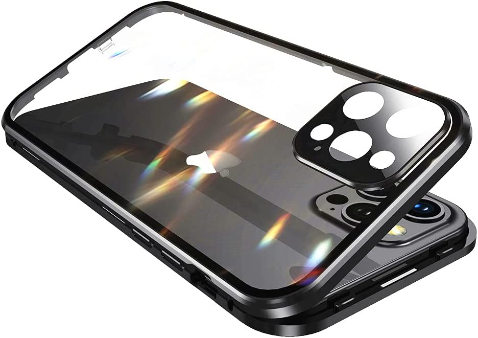 with Safety Lock & Strong Magnetic adsorption for iPhone 11 case with Camera Lens Protector Metal Bumper 360 Full Body Protection Double-Sided Tempered Glass (iPhone11, Black)