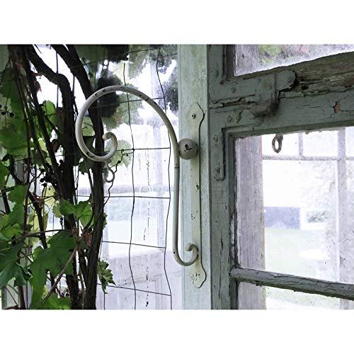 Chic Antique Haken Wandhaken f. Blumenampel Metall Laterne Shabby Creme Landhaus…H35xL25xB5cm Antikweiss Gusseisen