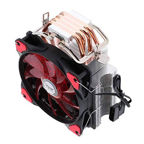 perfk Enfriador de CPU Aluminio LED Ventilador Radiador Disipador Calor de Tubos para