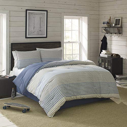IZOD Chambray Stripe Super Soft Comforter Set with Machine Washable Premium Luxurious Hotel Quality, Light Weight and All Season, Queen