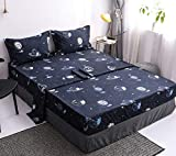 Mengersi Star Galaxy Bed Sheet Set -Kids Boys Girls Bed Sheets - Extra Soft - Deep Pockets - 1 Fitted Sheet, 1 Flat, 2 Pillow Cases - 4 Piece (Queen, Dark Blue)