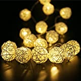 Rattan Ball String Lights for Valentine's Day, Globe Fairy Light Battery Powered 8ft 20 LED Indoor Outdoor Warm White Light for Party,Weedings,Christmas Decorative Lighting