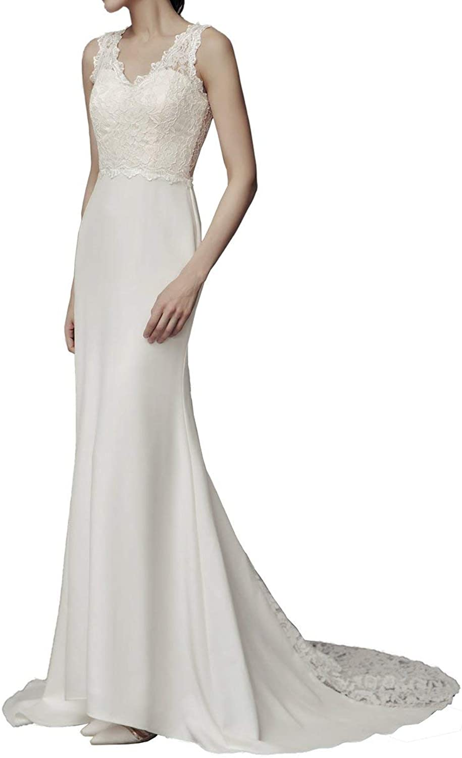 ICCELY Wedding Dress for Bride Lace Bridal Dress Bride Dresses with Long Train