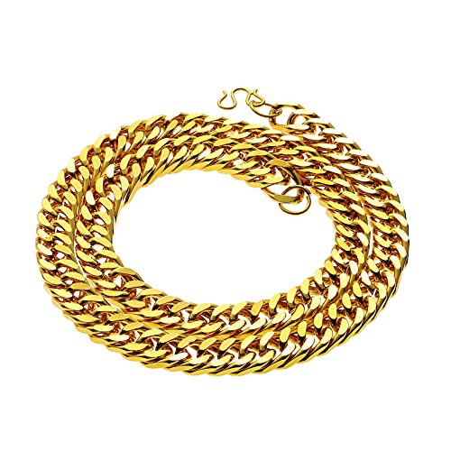 NUOBESTY Fake Gold Chain Faux Gold Chain Gold Cuban Link Chain Necklace Imitation Golden Necklace Costume Jewelry Hip Hop Rapper Men Women& Teens