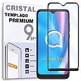 REY Protector de Pantalla Curvo para ALCATEL 1SE 2020, Negro, Cristal Vidrio Templado Premium, 3D / 4D / 5D, Anti Roturas