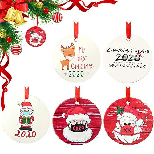 Adornos navideños de cerámica Mingting, 5 Piezas, Adornos navideños 2020, Adornos navideños Personalizados