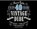 1/4 Sheet Cake - Vintage Dude 40th Birthday - Edible Cake or Cupcake Topper - D20377
