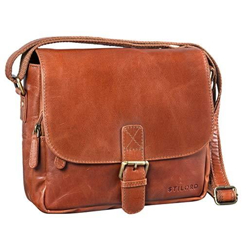 STILORD 'Lucian' Vintage schoudertas leer klein voor mannen en vrouwen schoudertas voor 10,1 inch tablet iPad DIN A5 handtas gemaakt van echt leer, Kleur:cognac - glimmend