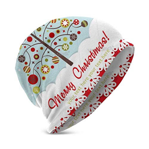 Unisex Beanie Hat Warm and Cozy Ornate Christmas Card with Xmas Tree 3D Kids Fashion Beanie Caps Suitable for Children Aged 3-15