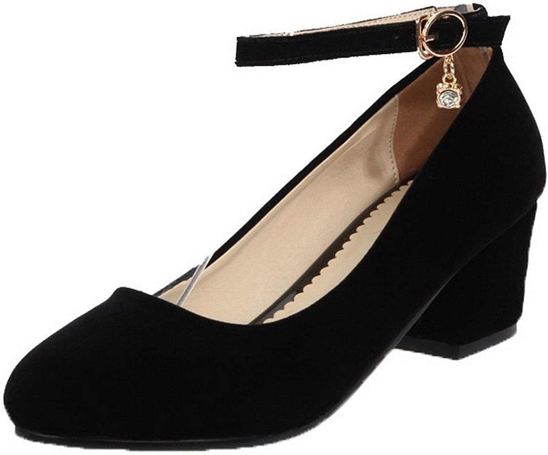 AllhqFashion Women's Buckle Round-Toe Kitten-Heels Pu Solid Pumps-shoes